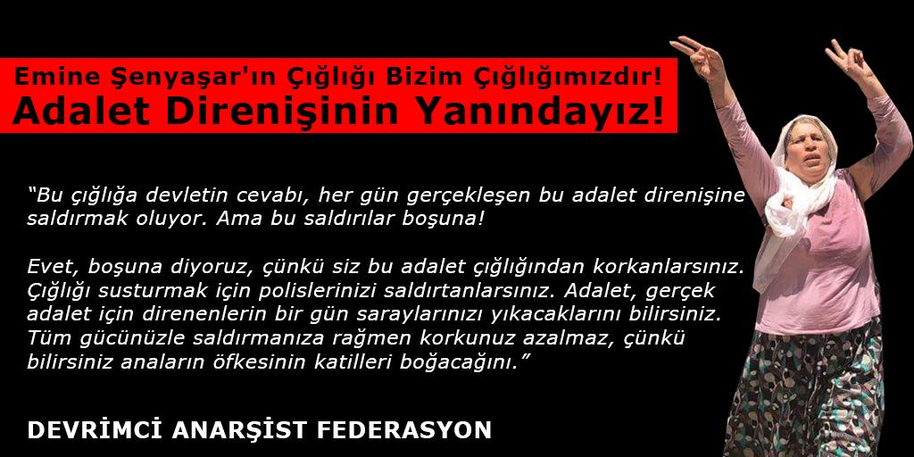 Emine Şenyaşar'ın Çığlığı Bizim Çığlığımızdır. Adalet Direnişinin Yanındayız!