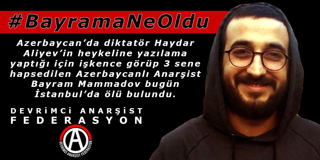 Azerbaycanlı Anarşist Bayram Mammadov Bugün İstanbul'da Ölü Bulundu!